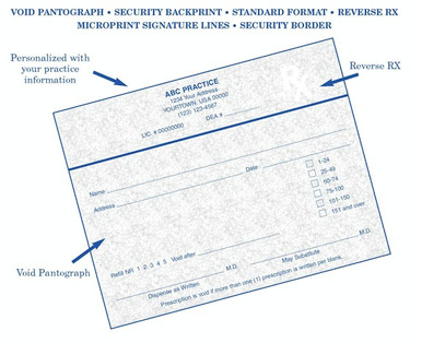 Custom Printed 1-Part Prescription Pads printed on CMS-approved INDIANA State security paper