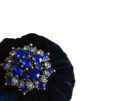 Navy Blue Pincushion for sale filled with Emery Sand / Emery Pin Cushion