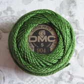 DMC Pearl Embroidery Thread Cotton Balls Size 5 - 904 Very Dark Parrot Green