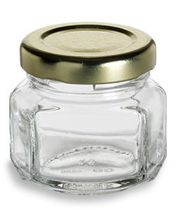 1.5 oz Oval Hexagon Glass Jars with Gold Lids