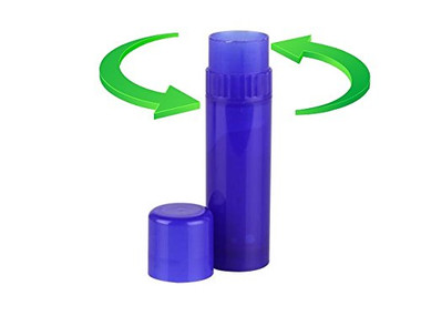 "Larger capacity Royal Blue Lip Balm Tubes has collar turn mechanism at the top and made with BPA free Polypropylene. 0.25oz (7.1g) capacity, 3.06"" high with cap on. One-handed turning great for easy applications. You can use them for lip balms, personal care, ashesives, glue sticks, insect repellent, stick foundation, blush, deodorant and more."