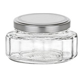 6 oz Faceted beveled glass jars with silver lids