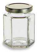 9 oz (270 ml) Hexagon squad Glass Jar for sale with plastisol lined gold Lid