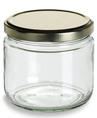 Nakpunar  12 oz wide mouth, straight side glass jar with gold lid