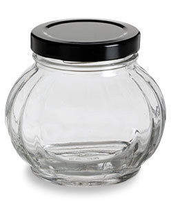 Nakpunar 8 oz Faceted Round Glass Storage Jar with Black plastisol lined lid