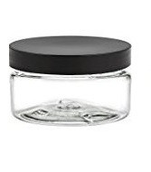 8 oz Clear Single Wall Plastic Jar with Black Smooth Lid