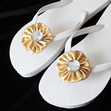 Golden yellow and White Bridal Flip Flops / Beach Wedding Shoes