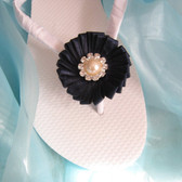 Navy Bridal Flip Flops / Wedding Flip Flops,Bridesmaids, Flower girls, Bridal Shower
