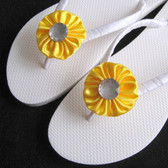 Lemon Yellow Bridal Flip Flops - 1 Adult Size - Beach Wedding, Bridesmaid Favors, Wedding Decorated Flip Flops