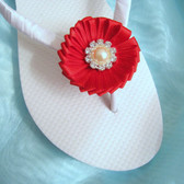 Red Beach Wedding Flip Flops / Bridal Flip Flops / Bridesmaid