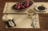 Placemat- Burlap Star Berry- Park Designs