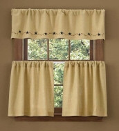 Valance- Burlap Star Berry- 60x14- Park Designs