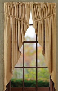 Prairie Curtain- Burlap Natural- Victorian Heart- 63x36x18 (Set of 2)