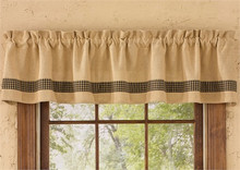 "Valance- Burlap & Check Black- 72""x14""- Park Designs"