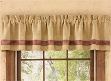 "Burlap & Check wine Valance- 72""x14""- Park Designs"