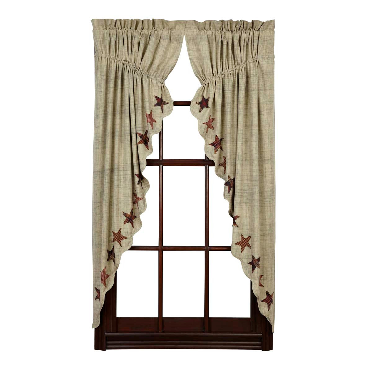Prairie Curtains Abilene Star 63x36 Victorian Heart