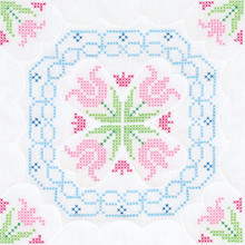 "Cross Stitch Lace Tulips 18"" Quilt Blocks"