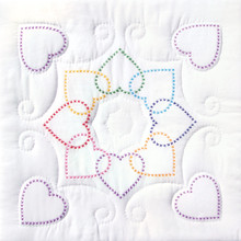 "Cross Stitch Hearts Circle 18"" Quilt Blocks"