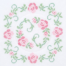 "Cross Stitch Circle of Roses 18"" Quilt Blocks"