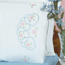 Starburst of Hearts Lace Edge Pillowcases