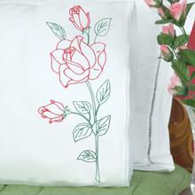 Long Stem Rose Lace Edge Pillowcases