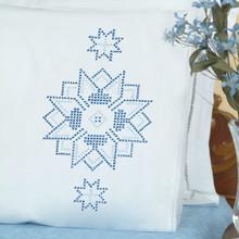 Cross Stitch Stars Lace Edge Pillowcases