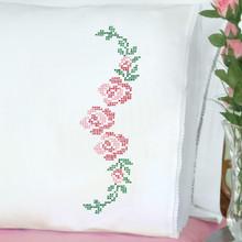 Cross Stitch Rose Vine Lace Edge Pillowcases