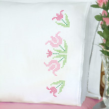 Cross Stitch Lace Tulips Lace Edge Pillowcases