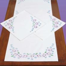 Lavender Flowers Scarf & Doily Set