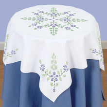 Cross Stitch Floral Table Topper