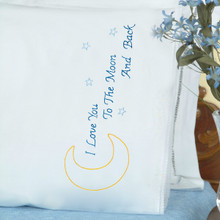 Love You to the Moon Lace Edge Pillowcases