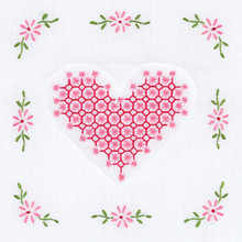 "Chicken Scratch Heart 9"" Quilt Blocks"