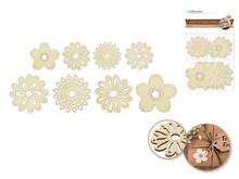 8ct Laser-Cut Wood Shapes - Flowers
