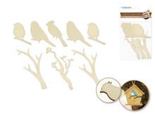 8ct Laser-Cut Wood Shapes - Birdies on Branch