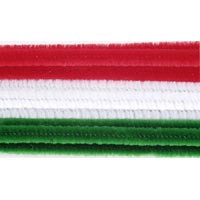 White, Red and Green Chenille Stems- 100ct- 6mmx12in