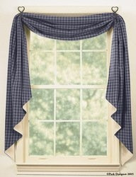 "Sturbridge Navy Lined Fishtail Swag 145""x25"""