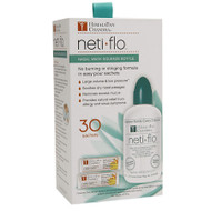 Neti Flo Kit:   Includes:  8 oz squeeze bottle  30 Neti Salt Sachets - USP Grade (purity level 99% or higher) sodium chloride and sodium bicarbonate mixture.   Provides support for allergies, dryness & hayfever, nasal symptoms from cold or flu.   No burning or stinging formula in easy pour sachets. Provides relief from exess mucus while soothing dry nasal passages. Provides natural relief from allergy and sinus symptoms. Portable for travel. Perfect for daily nasal irrigation from house dust, fumes, animal dander, grass, pollen, smoke etc, mosturization, and nasal hygiene.