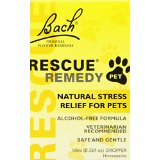 Natural Stress Relief For Pets   For years, Rescue® Remedy has been recommended by veterinarians for animals worldwide as an emergency remedy to help calm pets in all kinds of stressful situations. This alcohol-free formulation is suitable for use with all animals, including dogs, cats, horses and birds.   Recommended to reduce animal stress and tension.