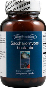 Allergy Research Group Saccharomyces boulardii Description A probiotic, non-colonizing yeast species closely related to Brewer's yeast and not related to the yeast group to which Candida belongs. Saccharomyces boulardii taken orally produces lactic acid, supports the production of secretory IgA, and helps friendly probiotic bacteria to colonize the GI tract. It is a transitory microorganism and is eliminated after supplementation is stopped. Directions  As a dietary supplement, 1 to 3 capsules daily, preferably on an empty stomach, or as directed by a healthcare practitioner. Disclaimer These statements have not been evaluated by the FDA. These products are not intended to diagnose, treat, cure, or prevent any disease. Supplement Facts Serving Size: 3 Capsules Servings per Container: 16 Amount Per Serving	% Daily Value Saccharomyces Boulardii (450 mg)	9 billion	* *Daily value not established. Other Ingredients: Hydroxypropyl methylcellulose, microcrystalline cellulose, silicon dioxide, stearic acid