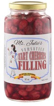 Ms. Julie's Naturally Gluten-Free and Sugar-Free Tart Cherries. Ready to eat with all natural ingredients. These are delicious in receipes or on their own. Tart Cherries have numerous health benefits including gout support.   Ingredients: Tart Cherries, water.