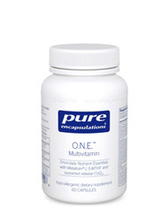 O.N.E. Multivitamin 60 caps Dietary supplement w/sustained release CoQ10 Supplement Facts serving size 1 capsule servings per container 60 vitamin A (as vitamin A acetate 3,750 iu   and 73% beta carotene) vitamin C (as ascorbic acid) 180 mg   vitamin D (as cholecalciferol) (D3) 2,000 iu   vitamin E (as d-alpha tocopherol 30 iu   succinate) thiamin (as thiamin HCl) (B1) 3 mg   riboflavin (vitamin B2) 1.7 mg   niacin (as niacinamide) 20 mg   vitamin B6 (as pyridoxine HCI) 2.5 mg  folate (as Metafolin®, L-5-MTHF) 400 mcg   vitamin B12 (as methylcobalamin) 500 mcg   biotin 300 mcg   pantothenic acid 10 mg   (as calcium pantothenate) (B5) iodine (as potassium iodide) 150 mcg   zinc (as zinc citrate) 25 mg   selenium (as selenomethionine) 70 mcg   manganese (as manganese citrate) 2 mg   chromium (as chromium 200 mcg 167% polynicotinate) molybdenum (as TRAACS® 75 mcg 100% molybdenum glycinate chelate) ascorbyl palmitate 10 mg   (fat-soluble vitamin C) riboflavin 5' phosphate (activated B2) 1.7 mg   pyridoxal 5' phosphate (activated B2) 2.5 mg   boron (as boron glycinate) 1 mg   choline bitartrate 25 mg   inositol 25 mg  coenzyme Q10 (from MicroActive® 50 mg   Q10-cyclodextrin complex and CoQ10) alpha lipoic acid 50 mg   lycopene 500 mcg   lutein 3 mg   zeaxanthin 500 mcg  other ingredients: potato starch, vegetarian capsule (cellulose, water)   FloraGLO® lutein is a registered trademark of Kemin Industries, Inc. Zeaxanthin is sourced from OPTISHARP™ brand. OPTISHARP™ is a trademark of DSM Nutritional Products, Inc. Metafolin® is a registered trademark of Merck KGaA, Darmstadt, Germany. ChromeMate® brand niacin-bound chromium. US. Patents 4,923,855; 4,954,492; 5,194,615. ChromeMate is a trademark of InterHealth, N.I. Recommendations: As a dietary supplement, take 1 capsule daily, with a meal. Tamper Resistant: Use only if safety seal is intact. Warning: If pregnant, consult your physician before taking this or any other product. Keep out of the reach of children.