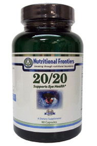An image of a bottle of 20/20 supplements for eyesight by Nutritional Frontiers.