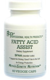 Fatty Acid Assist by PHP  60 vege capsules  Fatty acids need to have Acetyl-L-Carnitine to transport fats through the cell membrane for energy production. When an individual has genetic variants that inhibit the production of Acetyl-L-Carnitine, the fats may oxidize and create inflammation and lipid abnormalities. Fatty Acid Assist contains many nutrients and herbals that support the healthy transport of fats into the cell for production of AcetylCoA and the to ATP.