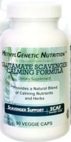 Glutamate Scavenger / Calming Formula by PHP  60 capsules  It is not uncommon for gene variants to cause an increase in glutamate, which may cause anxiety, panic attacks, agitation, and inflammation. The calming nutrients and herbs, and L-theanine in this product may help support the stressful state exhibited by high glutamate. The niacin may help use up some of the excess methyl groups, potentially allowing the the use of other necessary Genetic Methyl Nutrition supplements.