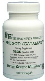 Pro S.O.D. / Catalase by PHP  60 capsules  This product contains equal amounts of SOD and catalase to neutralize the superoxide free-radical, thereby reducing peroxynitrite.