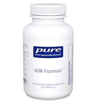This formula combines the whole adrenal and adrenal cortex with a mixture of herbs that nutritionally supports the adrenal glands. Panax ginseng and Eleutherococcus senticosus, or eleuthero, are used primarily as adaptogens, supporting overall health by a wide range of physical, chemical, and biochemical factors. The ingredients in this formula support the production of certain adrenal hormones and maintain a healthy immune response.  ADR Formula® offers broad-spectrum nutritional support to the functioning of the adrenal glands. ADR Formula 60 caps