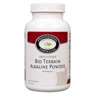 Bio Terrain Alkaline Powder by Professional Complimentary Health Formulas  8 oz (226 g)  Indications  Provides alkaline buffers for an acid-excess system.  Recommended Dosage As a nutritional supplement, take 3/4 teaspoon daily with 4oz. of water, or as directed by your health care professional.   Each 1 1/2 teaspoon contains  Calcium (carbonate)	195	mg Magnesium (citrate)	          35	mg Sodium (bicarbonate)	333	mg Potassium (50% bicarbonate/50% citrate)  83	mg Sea salt	   20	mg Cell salts (6X homeopathic)  8 mg
