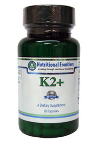K2 + by Nutritional Frontiers  60 Capsules  A Dietary Supplement with Vitamins A, D, and K2 (as MK-7).  K2 + is a dietary supplement that supports:  - Bone structure, density and integrity* - Proper bone remodeling* - Calcium utilization* - Cardiovascular Function*  Supplement Facts Serving Size 1 Capsule Amount Per Serving:  Vitamin A (as Retinyl Palmitate) 5,000 IU Vitamin D3 (as Cholecalciferol) 5,000 IU Vitamin K2 (as MK-7) 500 mcg  Other Ingredients: microcrystalline cellulose, vegetable cellulose (capsule), vegetarian leucine.