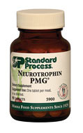 Neurotrophin PMG by Standard Process  90 Tablets  Neurotrophin PMG is a Protomorphogen™ extract formula that supports healthy central nervous system function. Provides a unique profile of minerals, nucleotides, and peptides with unknown factors*