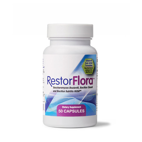 Image of a bottle of Restorflora nutrition products from Clinical Nutrition Centers